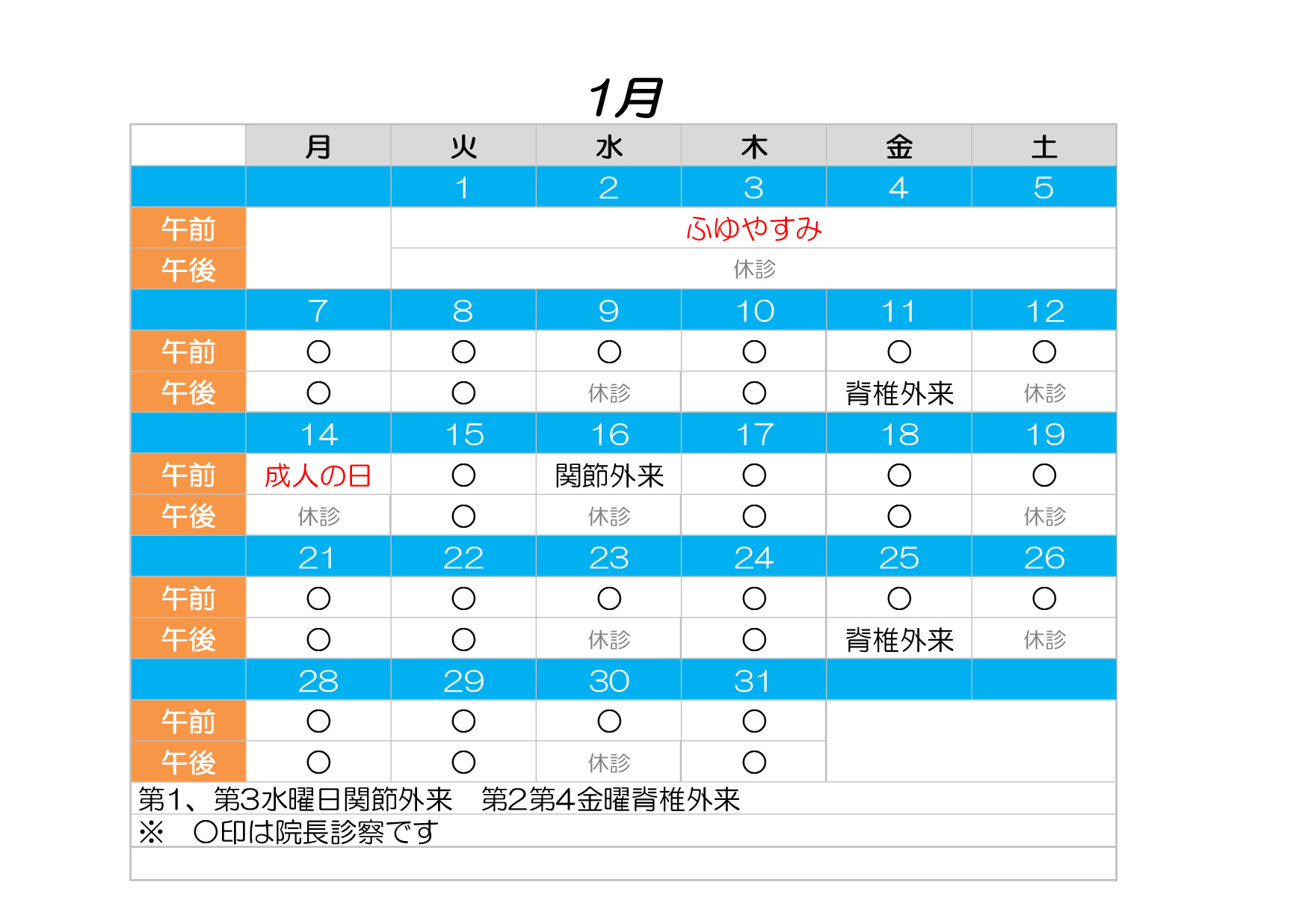 診療カレンダー1月